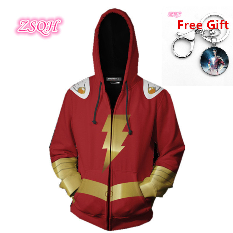 ZSQH Shazam Billy Batson Superhero Party Hip hop Hoodies disfraz adulto Cosplay Costume Women&Men Cute Shazam Hip Hop Costumes