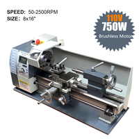 750W Variable Speed Mini Lathe Machine 110V Brushless Motor Mini Metal Lathe for Metalworking Stainless Steel Processing Full CE