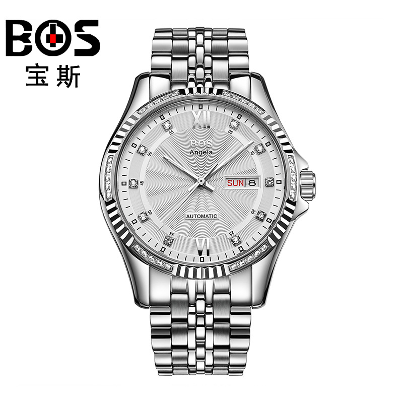 ANGELA BOS Famous Luxury Brand Automatic Watch Men Mechanical Gold Stainless Steel Waterproof Calendar Date Wrist Watches Gift original binger mans automatic mechanical wrist watch date display watch self wind steel with gold wheel watches new luxury