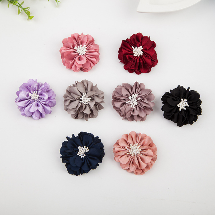 30 PCS 5CM Cloth Flowers With Stamen Connectors Charm Handmade Headwear Brooch Accessories For Jewelry Making