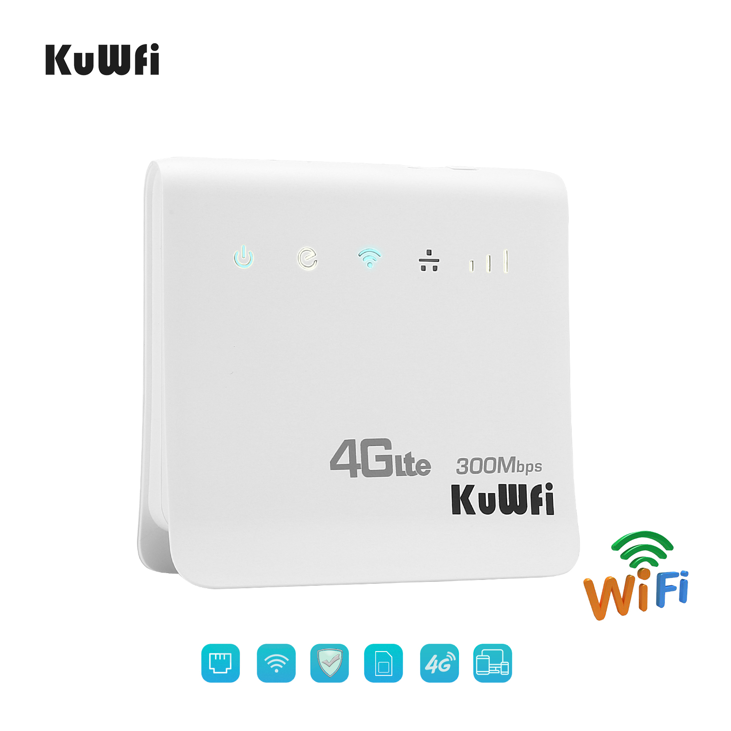 Image 2 - Unlocked 300Mbps Wifi Router 4G LTE CPE Wireless Mobile Router With LAN Port SIM Card Solt Support B1/B3/B5/B8 B38/B39/B40/41-in 3G/4G Routers from Computer & Office