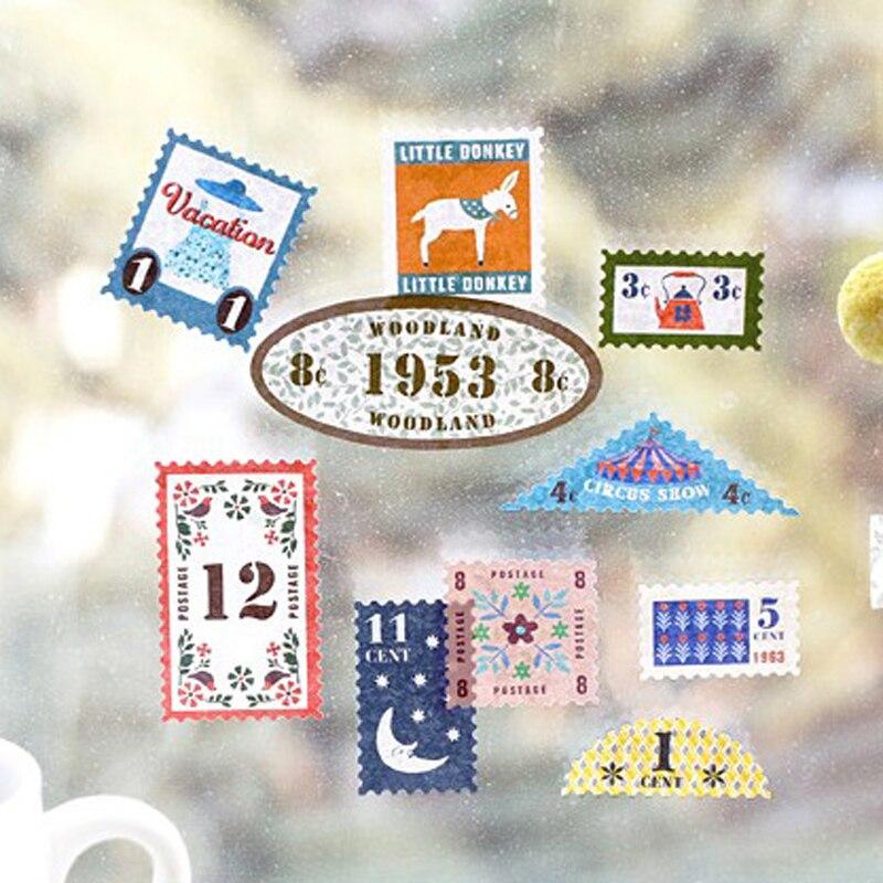 6 Pcs/Lot Midori Traveler notebook stamp sticker vintage cowhide travel diary Album Stationery Sticker tz22