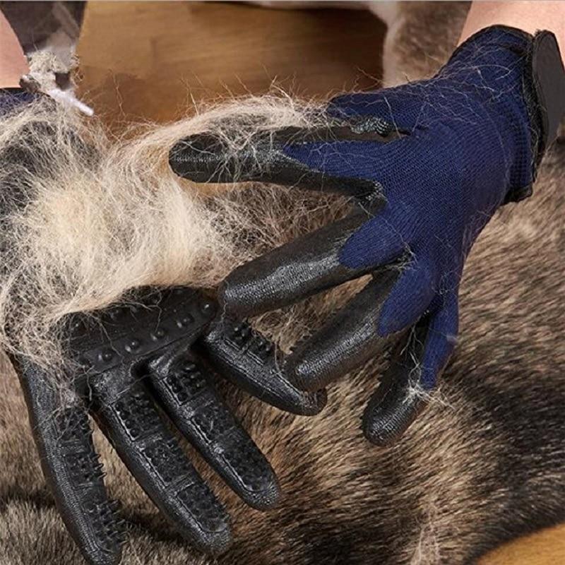 1 para Gummi Pet Haar Entferner Pflege Handschuh Hund Pferd Katze Verschütten Bade Massage Pinsel Weichen Reinigungs Kamm Für Katzen pet Handschuh
