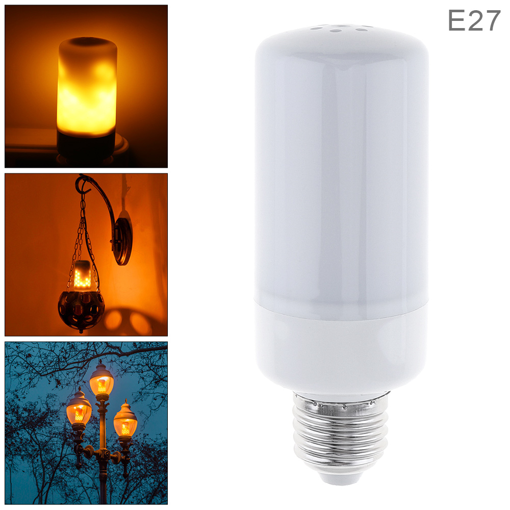 E27 LED Light Bulb 7.5W 85-265V 99 Leds Torch Lamp with Flame Effect and 3 Working Modes for Holiday / Garden / Bar Decoration