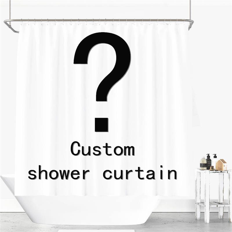 Custom Brand Logo Own Photo Shower Curtain Waterproof Polyester Fabric 6 Sizes Shower Curtain For The Bathroom With 12 Hooks