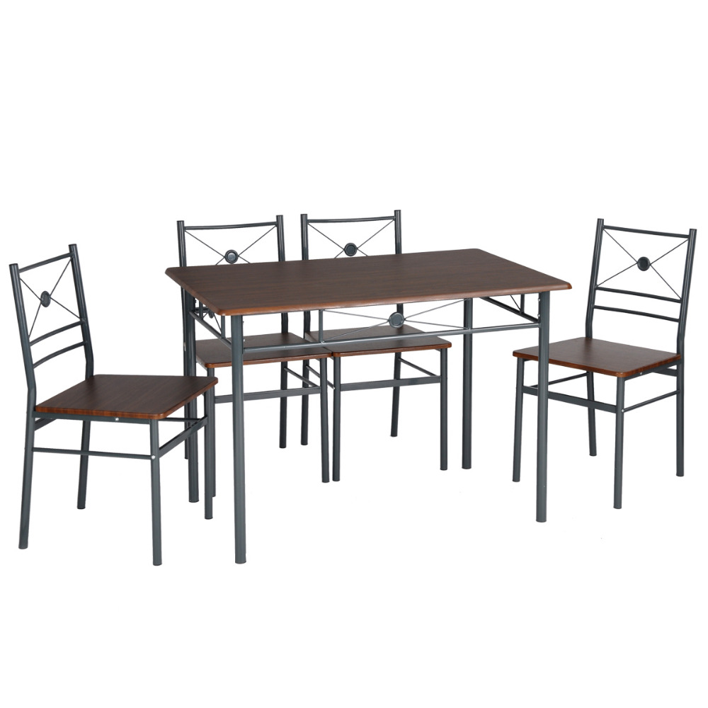 Aingoo 5Pcs Dining Room Set Furniture Classical Design And High Quality Simple Style Table