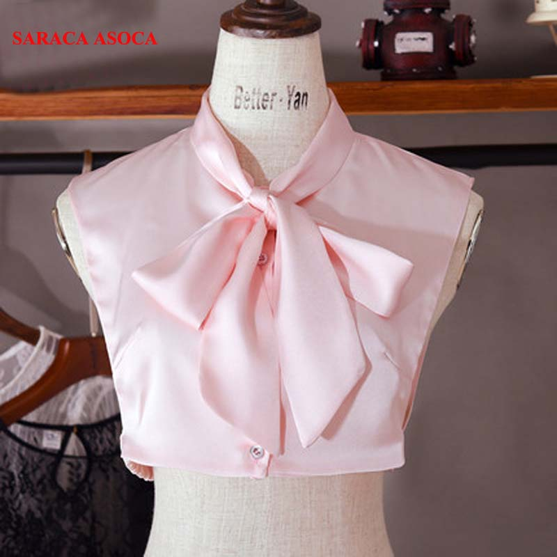 Fashion Solid Ribbon Bow Fake Collar Women's All Match Shirt Detachable Collar For Girls