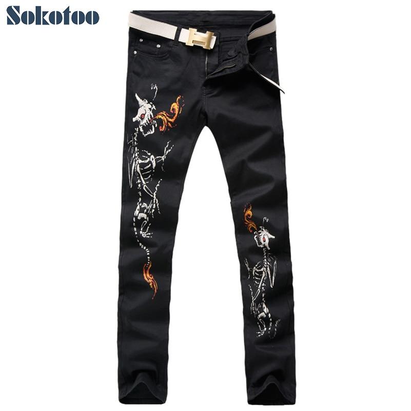 Sokotoo Men's black skull alien fire print jeans Casual slim colored pattern stretch denim pants tuffy супер прочная игрушка для собак адмирал фурия пламя прочность 8 10 alien fire t a fire ali
