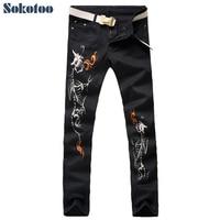 Sokotoo Men's black skull alien fire print jeans Casual slim colored pattern stretch denim pants