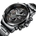 Cadisen Multifuncional Luxo Auto Data Esporte Militar Relógios Homens de Negócios de Aço Inoxidável Relógio de Quartzo horas de Relógio do exército Masculino