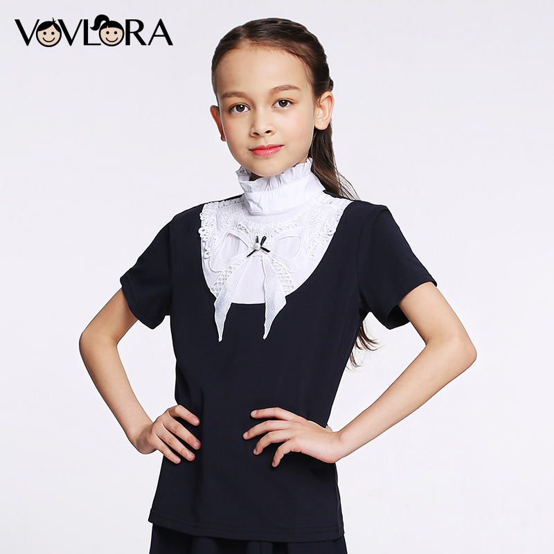 T shirt Girls Tops Ruffled Turtleneck Cotton Kids School T shirt Knitted Short Sleeve Spring 2018 New Size 7 8 9 10 11 12 years