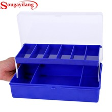 Sougayilang 23.5*15*6.5 CM Big 2 Layers Fishing Box Blue And White Plastic Storage Case Carp Fishing Tackle Lure Box Accessories