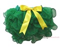 Mardi Gras Kelly Green Petal Pettiskirt Yellow Bow Baby Girl Tutu Skirt NB-8Year