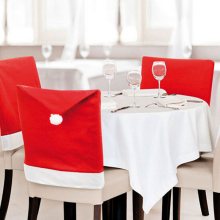 1pcs 2015 New Fashion Santa Clause Red Hat Chair Back Cover Christmas Dinner Table Party Decor For Christmas