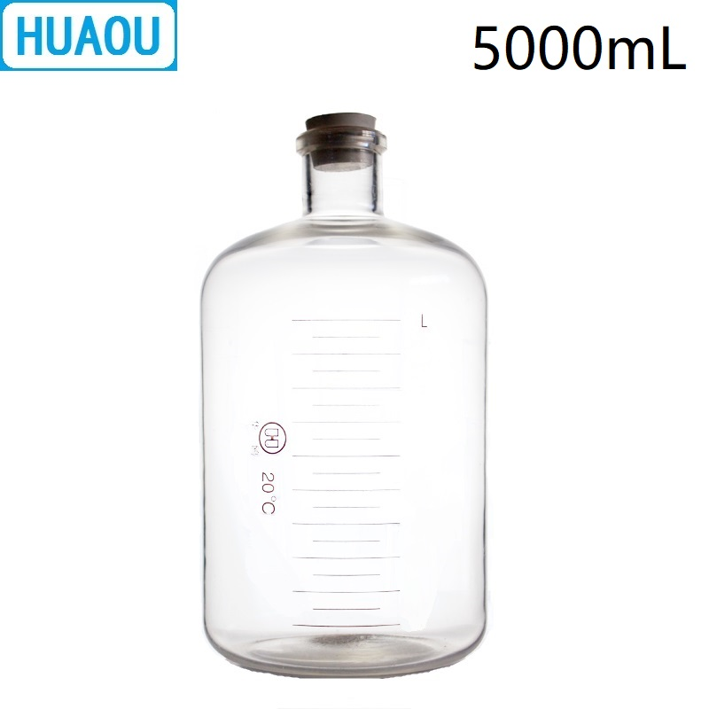 HUAOU 5000mL Glass Serum Bottle 5L Narrow Mouth with Graduation and Rubber Stopper Laboratory Chemistry Medical Equipment huaou 500ml gas generator kipps apparatus with safe funnel stopcock rubber stopper laboratory chemistry equipment