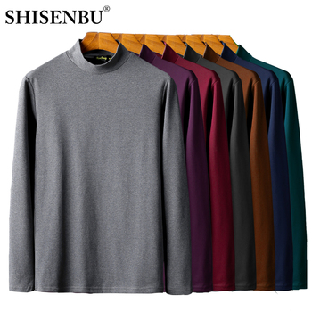 Underwear masculino Camisa de Gola Alta de Inverno Bodysuit Mens Roupas Quentes Undershirts Tops 95% Algodão Camisola Básica de Espessura Térmica 2019