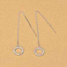 Модные простые элегантные длинные серьги серебряного цвета с
