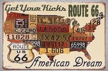 1 pc USA MAP Get your kicks US Car LICENSE Route 66  Tin Plate Sign wall plaques Man cave vintage Dropshipping metal Poster