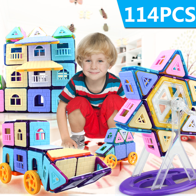 114PCS Mini Magnetic Building Blocks Magnetic Constructor Designer 3D Pulling DIY Educational Toys Kids Magnet Toys