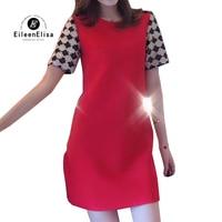 Роскошное Брендовое платье для женщин 2019 красное платье с блестками с круглым вырезом воротник дизайнерское Брендовое платье для женщин