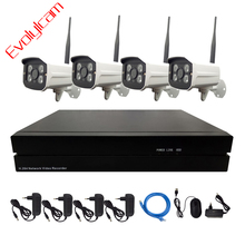 Evolylcam 4PCS Wireless 720P/960P/1080P IP Camera Onvif Outdoor Network Wifi Bullet With 4CH NVR Surveillance CCTV System Kit