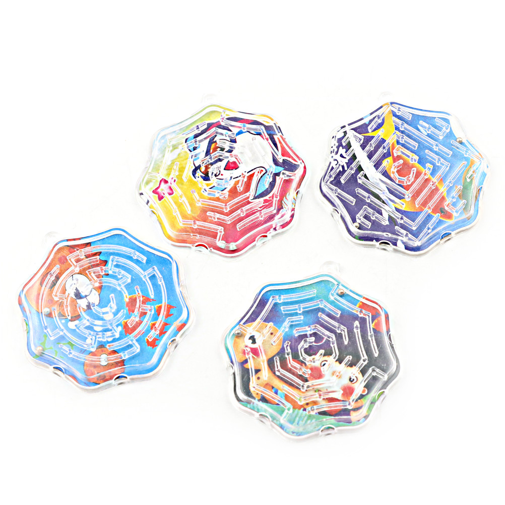 4Pcs/lot Octagon Shape Steel Maze Puzzle Toys Ball Funny Kids Stress Toy Money Maze Bank Saving Fun Brain Game New Sale
