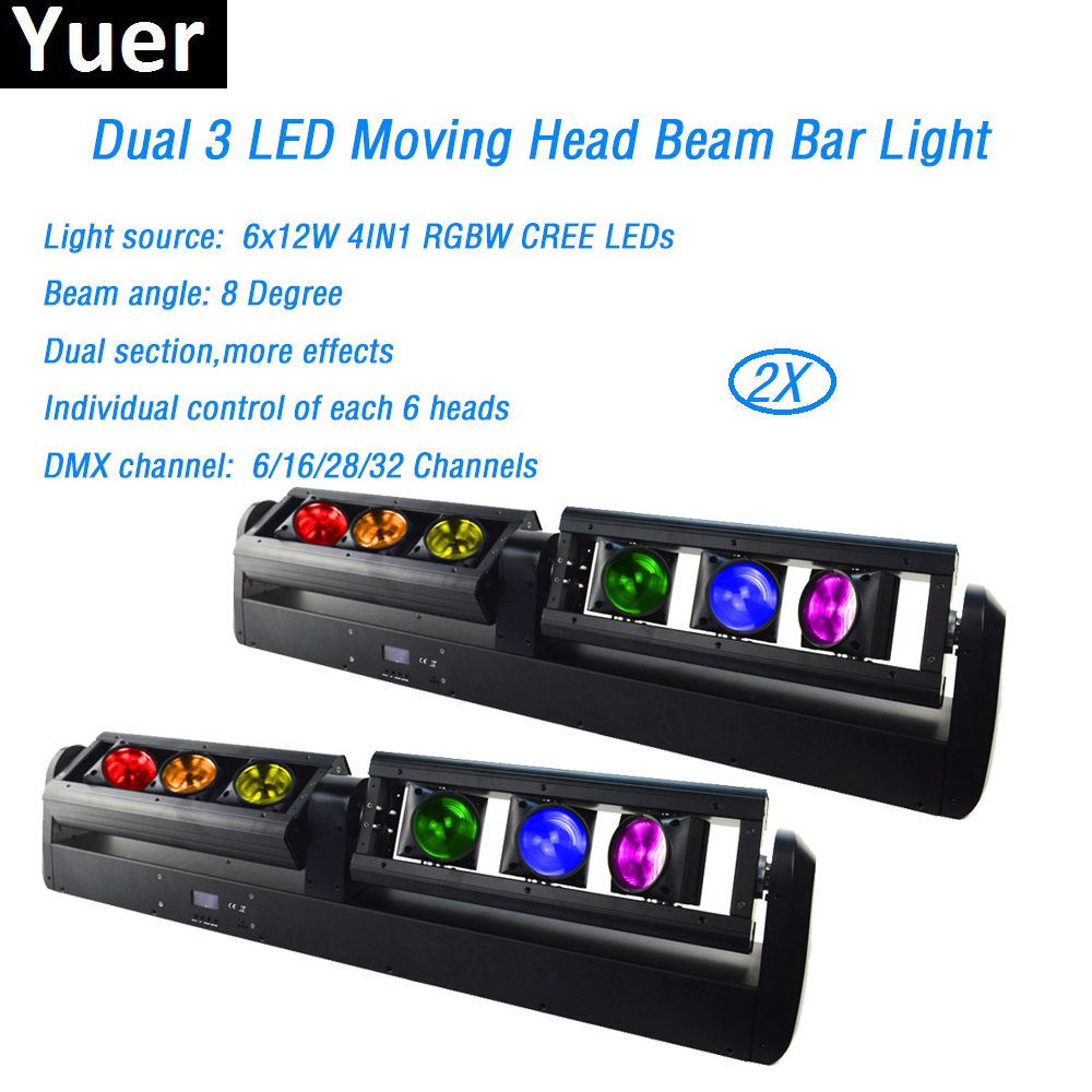 2Pcs/Lot 90W LED Moving Head Light 6x12W 4in1 RGBW beam effect led lamp Dual section rotation Bar Party DJ Disco stage Lights