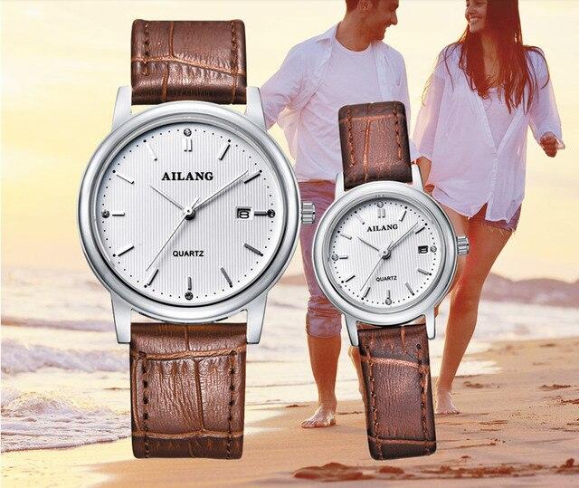 Designer Classic Lovers Simple Fashion Quartz Watches Waterproof Real Leather Business Dress Wrist watch Calendar Relojes W042