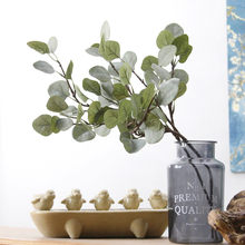 Eucalyptus tree branches Artificial plastic plants Flower arranging DIY flores autumn home wedding party decoration leaf wreaths(China)