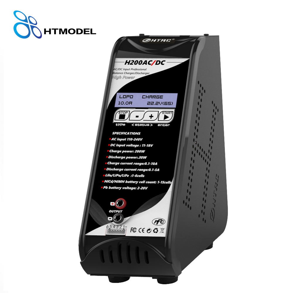 HTRC H200 AC/DC 10A 200W Vertical Style RC Battery Balance Charger/Discharger for 1-6s Lipo Battery Support USB charging