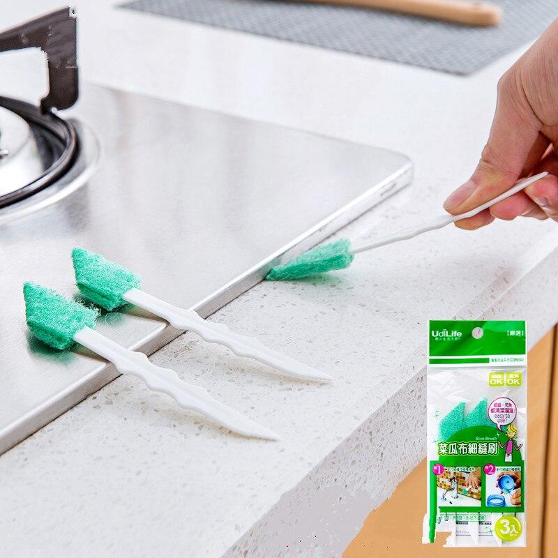 3pcs / bag long handle window slot corner cleaning brush wardrobe corner Drawer keyboard ...