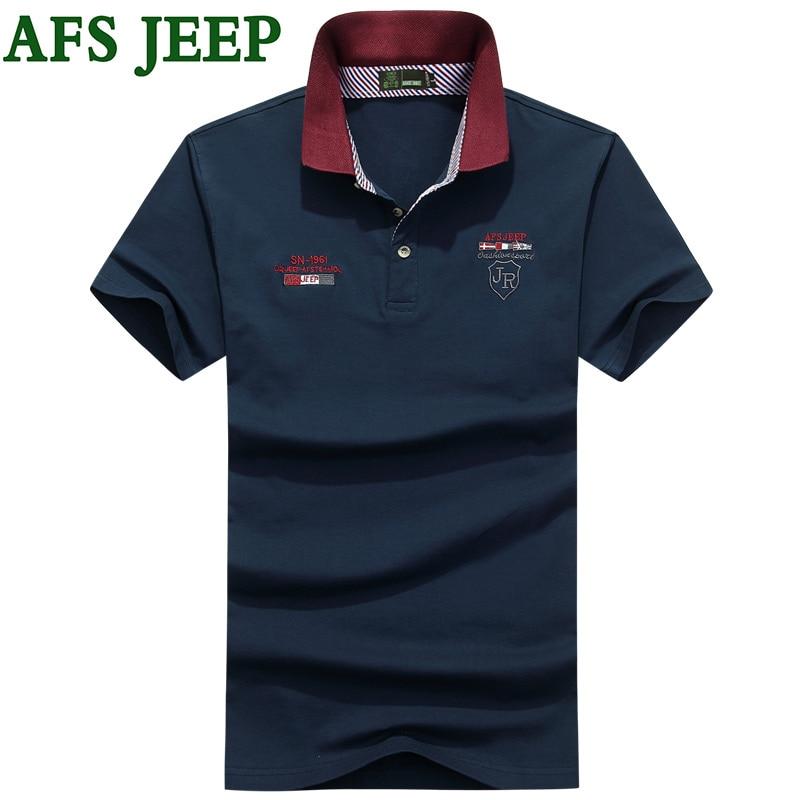 AFS JEEP font b Mens b font font b Polo b font Shirt Brands Casual Solid
