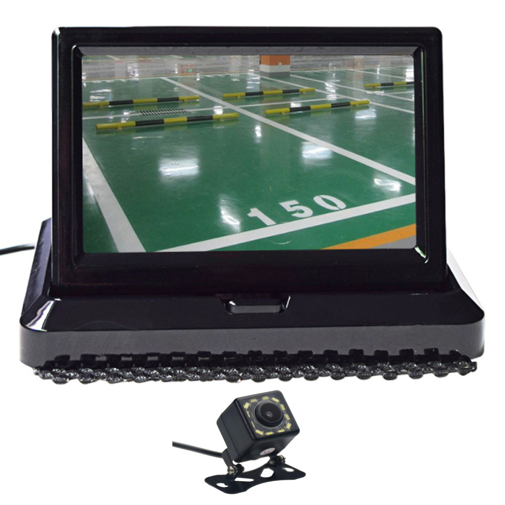 5.0 Color HD CCD Car Display 5 Inch Folding New Digital 2 Channel Video Input DVD Player DC 12/24V And 12 LED Rearview Camera