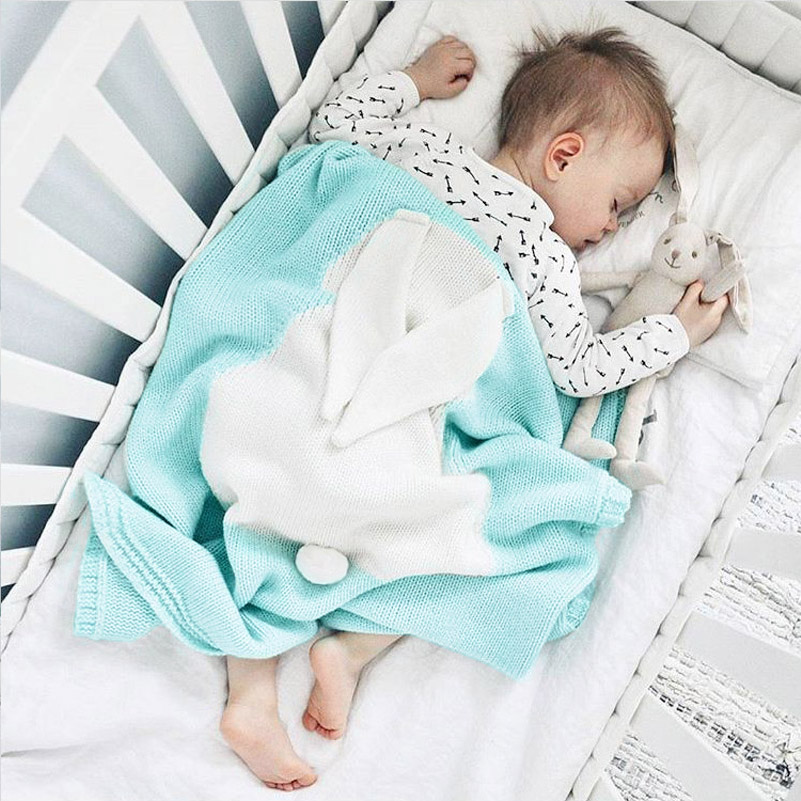 ANKRT Blanket Cute Rabbit Ears Children 39 s Baby Kids Cotton Thread Knitted For Bed Sofa Mantas BedSpread Bath wool quilt boys in Blanket amp Swaddling from Mother amp Kids