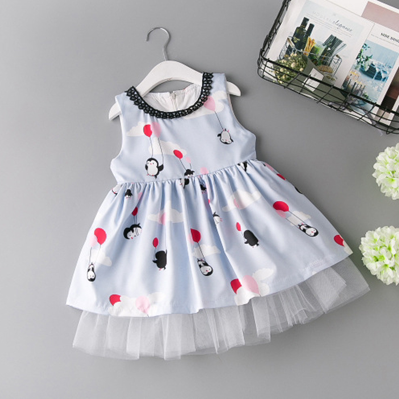 все цены на Summer Girls Dress 2-7 Years Baby Girl party Princess Dresses 2017 cartoon Printed Dress Kids Lovely formal cotton Clothes