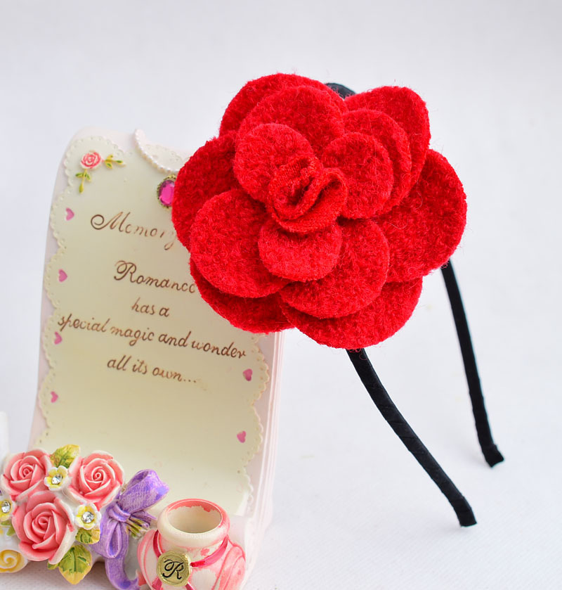 Beautiful Hairbands For Girls Multilayers Woolen Flower Hair Hoops Solid Fabrics Headbands Hairdress Gifts Hair Accessories in Hair Accessories from Mother Kids