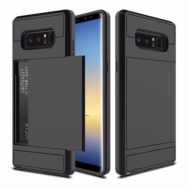 Hard Rubber Hybrid Bumper Armor Shockproof Protective Case Cover for Samsung Galaxy Note 8 SM-N950F with Credit Card Slot Holder