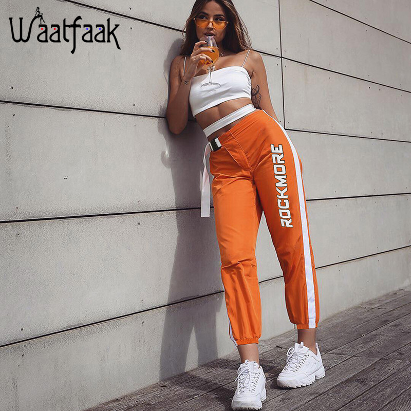 Image 2 - Waatfaak Casual Patchwork Pencil Pants High Waist Buckle Belt Trousers Women Orange Zipper Pocket Sweatpants and Joggers Fitness-in Pants & Capris from Women's Clothing