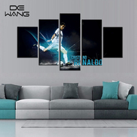 Famous Football Star C Ronaldo Wall Art Painting Living Room 5 Panel Painting Framed Picture Cheap