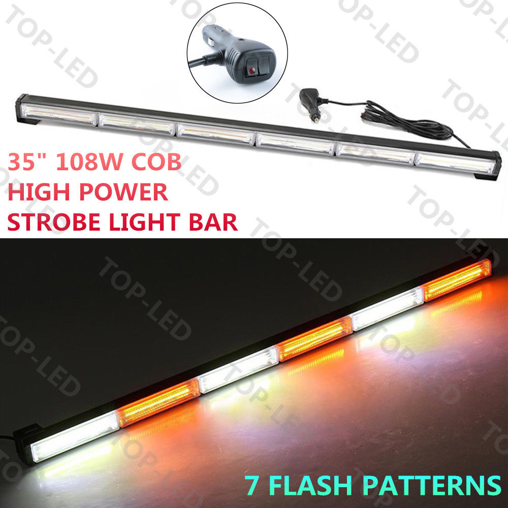 CYAN SOIL BAY 35 108W COB LED Emergency Warning Traffic Advisor Strobe Light Bar Amber White