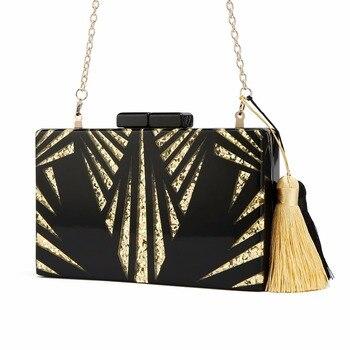 Black gold glitter Women Clutch