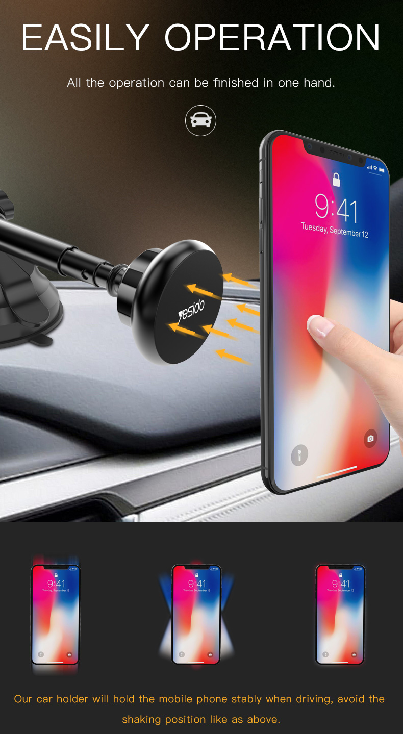 Magnetic Car Phone Holder Stand Windshield Sucker Car Mount Holder (3)