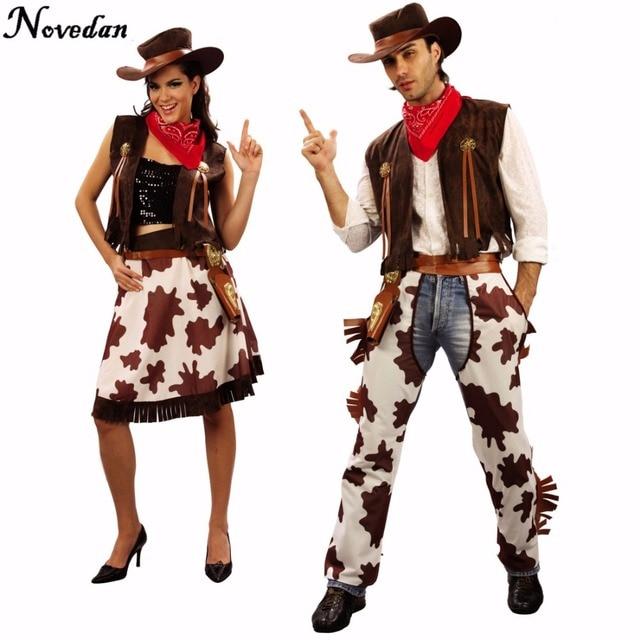 c30038a900 Fiesta de Halloween de vaquero traje para hombres y mujeres adultos vaquera  Cosplay occidental vestido de