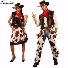 418a2c904 Festa de Halloween Traje de Vaqueiro Para Homens e Mulheres Adultos Cowgirl  Cosplay Vestido Ocidental Suit Fantasias de Carnaval.