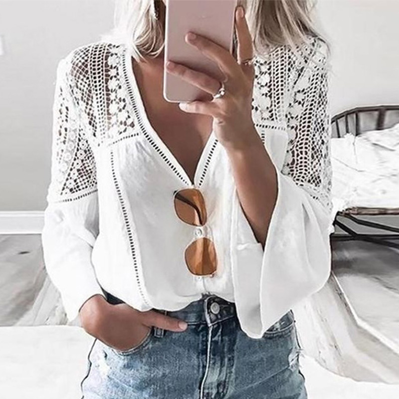 Women's White V-Neck Lace Blouse Flare Long Sleeve Hollow Out Patchwork Blouses Female 2020 Summer Spring Ladies Casual Tops