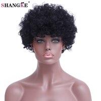 SHANGKE Capelli Corti Neri Ricci Parrucche Per Le Donne Nere Resistente Al Calore Parrucca Sintetica Per Le Donne Afro-americane Capelli delle Donne parrucche