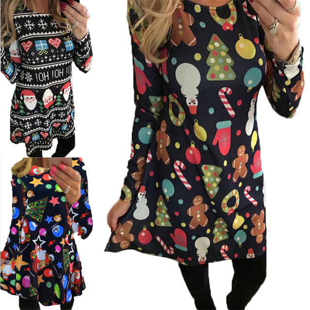 Long Sleeve Tree Casual vintage Winter Dress