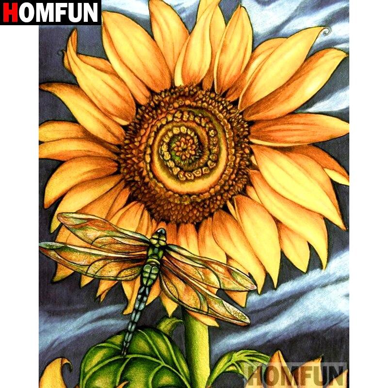 5D Partial Drill Round 30*40cm DIY Triple Sunflower Diamond Painting