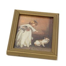 New 1 12 Resin Frame Girls and Cat Wall Mural Pictures font b Doll b font