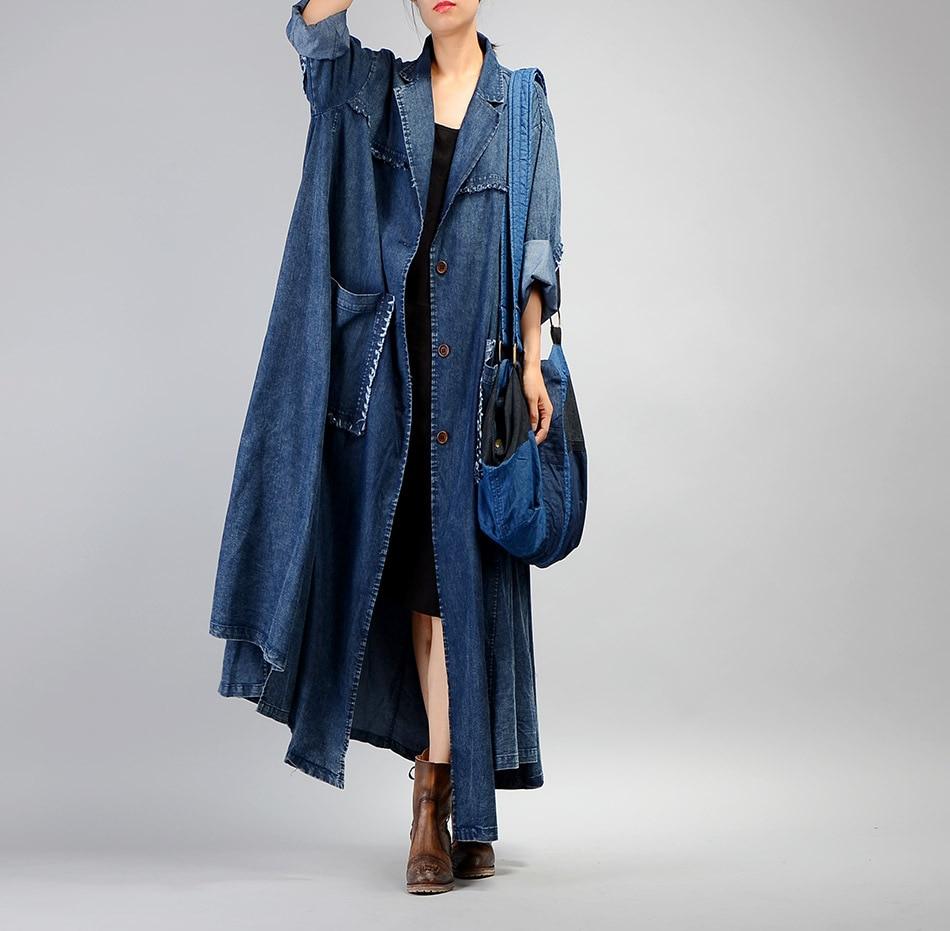 Women Plus Size Loose Irregular Denim   Trench   Coat Ladies Patchwork Retro Vintage Pockets Overcoat Outwear Female Coat   Trench